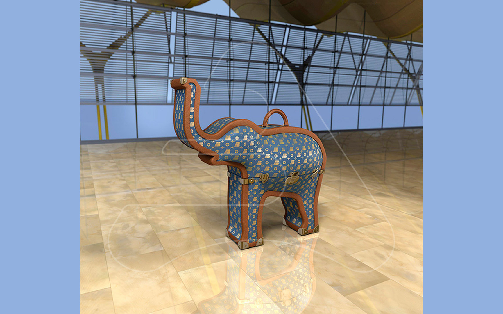 Suitcase Elephant / Iberia / Tapsa Madrid / 3D modeling and illustration