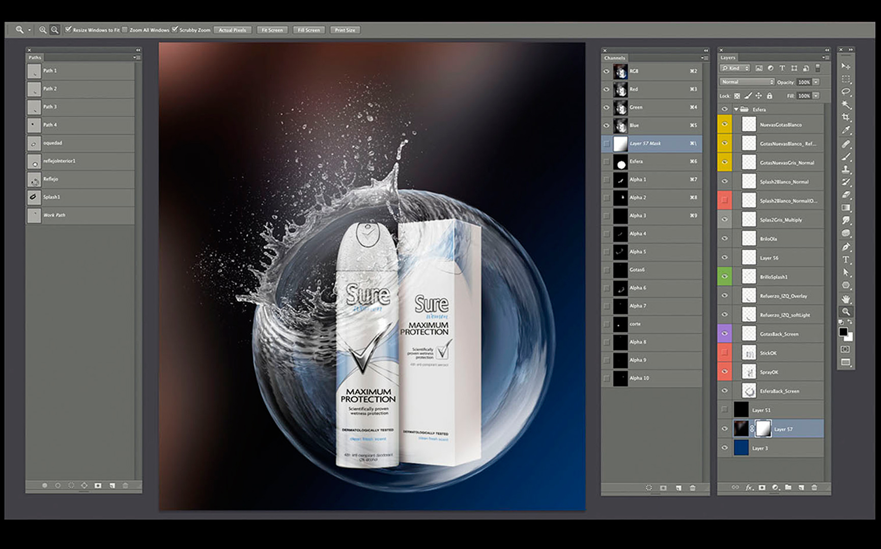 Rexona Sure / Lola-mullenlowem Madrid / International campaign / Photo retouching and illustration